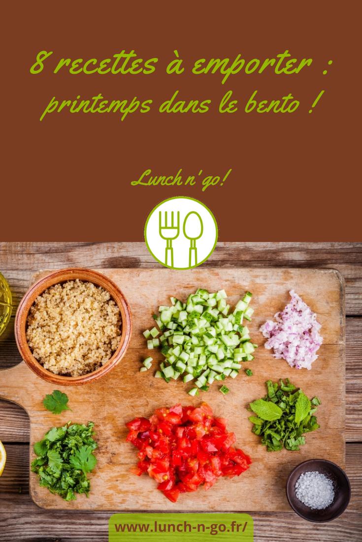 Des idées de recettes printanières pour jolies boîtes à repas : salades de crudités, sucrés-salés,  taboulé express, tartines de patate douce, riz aux poivrons, bruschetta et d'autres.
